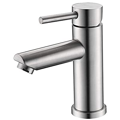 AMAZING FORCE Single Hole Bathroom Faucet Single Handle Bathroom Sink Faucet Brushed Nickel Stainless Steel Basin Mixer Tap - Sink Drain & Deck Plate Not Included
