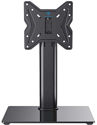 PERLESMITH Swivel Universal TV Stand/Base - Table Top TV Stand for 19-39 inch LCD LED TVs/Monitor/PC - Height Adjustable TV Mount Stand with Tempered Glass Base, VESA 200x200mm