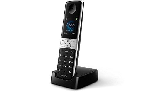 Philips D6350B-Telefono cordless DECT, scrivania, colore: nero/argento, 100-240, 50/60, TFT