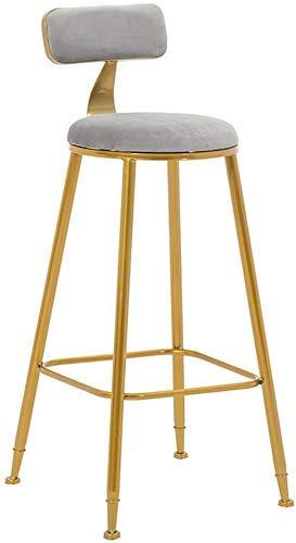 Household Products juego de taburetes de bar de taburetes altos para bar, frente de franela, respaldo y cojines de esponja, marco de hierro forjado reforzado con tornillos para lounge bar (altura d