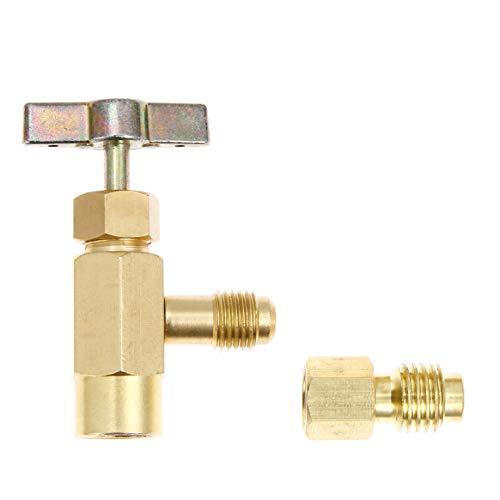 Aupoko Dosenhahn-Kühlmittel-Spenderventil für R134A R12 R22 R505 AC Ladeschlauch, Messing-Ventil Werkzeug Flaschenöffner mit Tank-Adapter Gewinde 1/4 Zoll SAE und 1/2