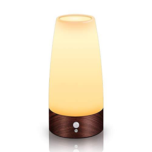 Aappy Bewegungsmelder Nachtlicht, batteriebetriebene Lampe, tragbare drahtlose LED-Tisch-Bett-Schreibtisch Leuchten für Schlafzimmer, Flur, Bad, Küche, Wohnzimmer (Rundholz)