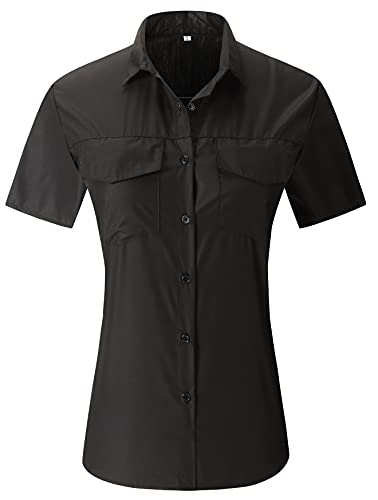 Womens Button Down V Neck Shirts Short Sleeve Blouse Summer Casual Work Plain Tops with Pockets Black Medium