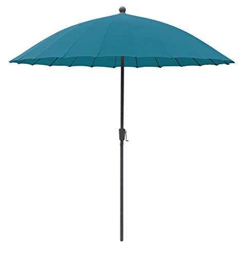 greemotion Sonnenschirm Sizilien, Ø 270 cm, großer Schirm mit Sonnenschutz UV50+, Marktschirm mit Kurbel, Gartenschirm anthrazit / petrol