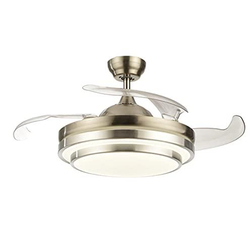Lámparas de araña Luces de ventilador LED invisibles, luces de ventilador de techo de conversión de frecuencia, candelabros de ventilador, candelabros de techo para sala de estar, dormitorio y comedor