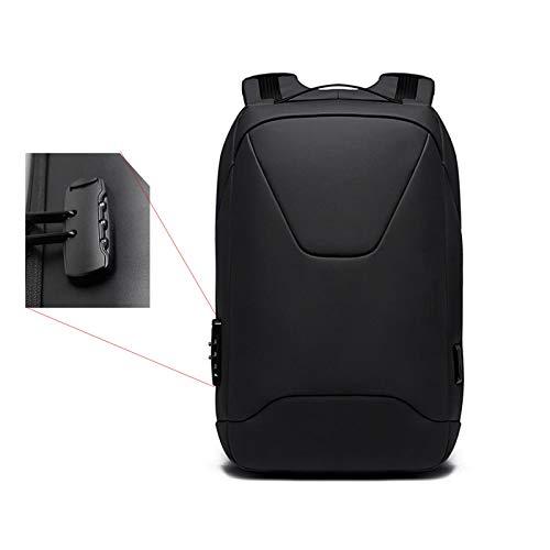 Jcnfa- Mochila de Negocios de Hombro, 15.6En Laptop, Impermeable y antirrobo, contraseña, Carga USB (Color : Black, Size : 12.59 * 4.33 * 17.71in)