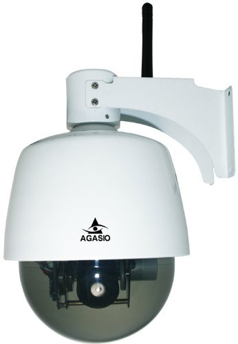 Agasio A621W Outdoor Wireless Pan/Tilt/Zoom IP Camera with 3x Optical Zoom, 4mm - 9mm Lens Pan 355Degree Tilt 90Degree, White