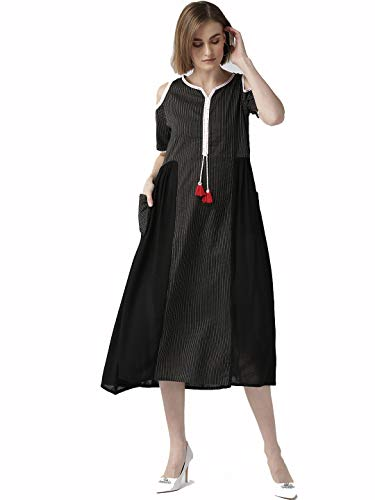 Dream Angel Fashion Women Dress Kurti Red & Black Anarkali Kurta Ready to Wear (Large)