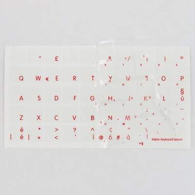AdesiviTastiera.it - Adesivi tastiera Italiano fondo trasparente lettere rosse