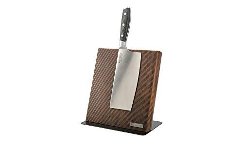 MEISTERKOCH Magnetischer Messerblock aus hochwertigem Pinienholz Edelstahl Fuß