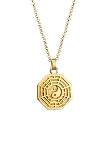 Elli Necklace Bagua Symbol Pendant Spirit Coin in 925 Sterling Silver gold plated