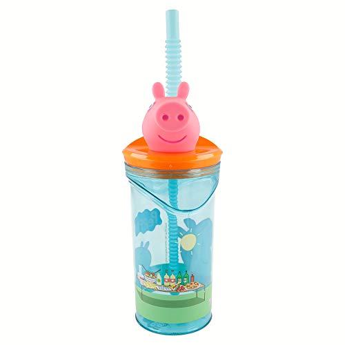PEPPA PIG | Vaso para niños de plástico con pajita y tapa- diseño