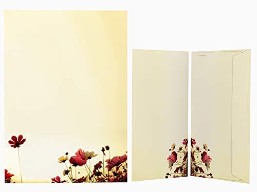 Motivpapier Set mit Umschlag SUNNY FLOWERS 50 Blatt + 50 Kuverts