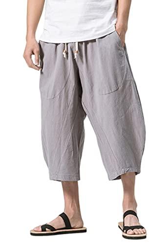 KAJIKAJI Men's Sarouel Pants, Thin, Aladdin Pants, Sweatpants, Gaucho Pants, Medium, Pants, Thai Pants, Wide Pants, Large Sizes, Summer, 2 Types - Casual grays