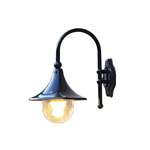 Xungzl Linterna de pared al aire libre con acabado negro en forma de trompeta, con luz acrílica clara Luz de montaje en pared al aire libre, impermeable y a prueba de agua IP65 Luz de escono de la par