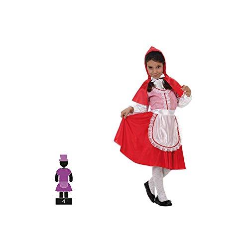 Cisne 2013, S.L. Disfraz de 4 Piezas para Carnaval Infantil niña de Caperucita Roja. Capucha Roja. Talla 7-9 años de niño y niña. Cosplay niña Carnaval.