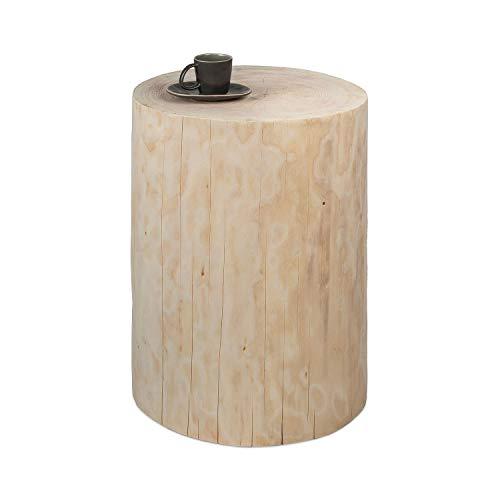 GREENHAUS Baumstamm Beistelltisch rund 20-25 cm Fichte ungeölt massiv Handarbeit und Massivholz aus Deutschland Holzstamm
