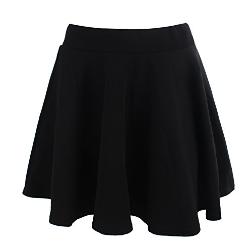 Amazing Closet A-Line Short Pleated Skirt Puff Basic Versatile Casual (Small, Normal-Black)