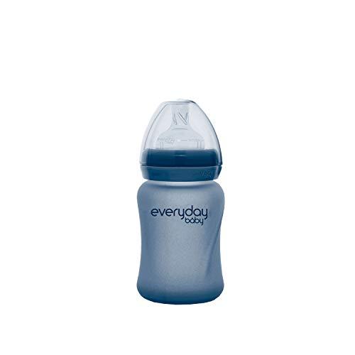 Everyday Baby Glas-Babyflasche Healthy+, Ab 0 Monate, Silikonmantel, Mit Wärmesensor-Funktion, Inkl. Silikon-Sauger, Schutzkappe und Silikon-Verschlussplättchen, 150 ml, Blueberry, 30830 0300 01