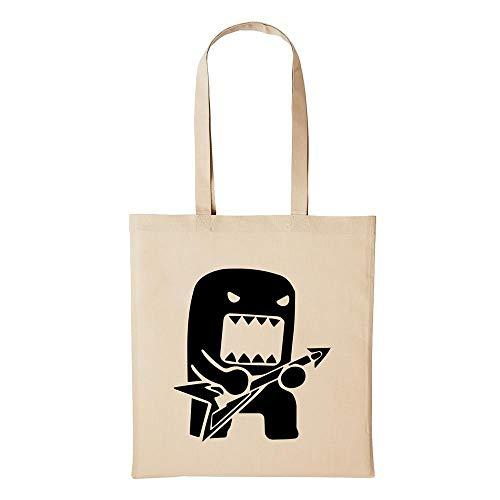 Hellweg Druckerei Jutebeutel DOMOKUN D?mo-kun Rock Gitarre Geschenk-Idee für Damen und Herren Tasche Baumwolle für Freunde und Familie