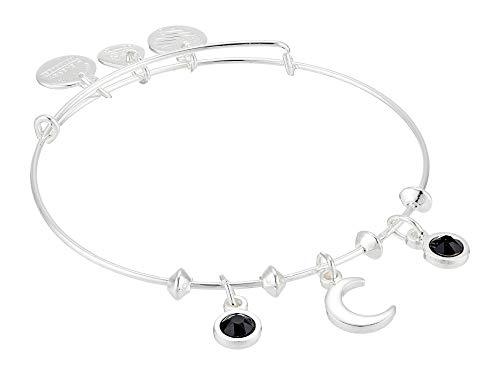 Alex and Ani Moon & Star Multi Charm Bangle Bracelet Shiny Silver One Size