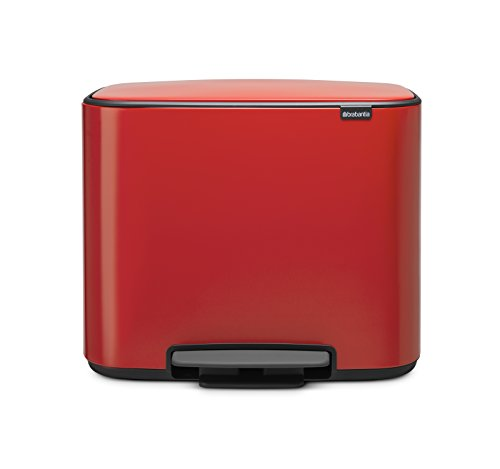 Brabantia - 121166 - Poubelle Bo Pedal Bin, 11 + 23 litres, Rouge
