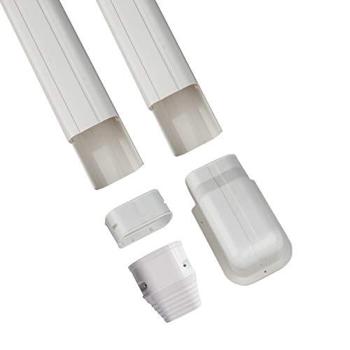 Forestchill - Juego de cubierta de PVC para aire acondicionado de 3 pulgadas y 8 pies, con ranura para tubos para aire acondicionado...