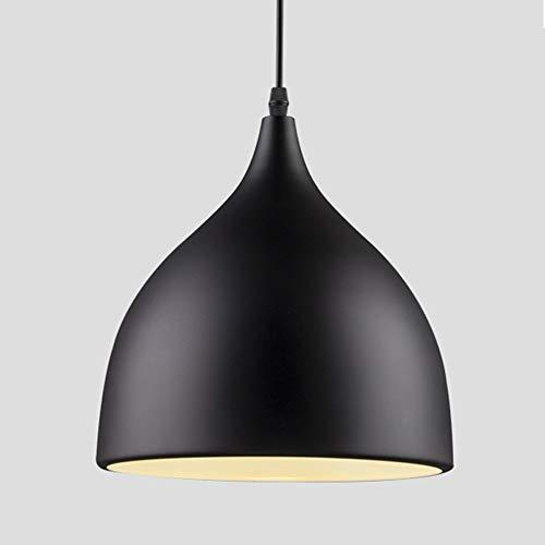 Vintage Lámpara Colgante de Techo E27 Retro del Metal Luminaria Industrial LED Araña Iluminación Luz Interior Aluminio Light Pendiente de la Vendimia, Negro