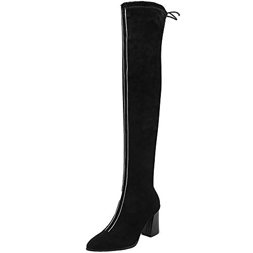Mediffen Damen Pointed Toe Overknees Stretch Stiefel Höhe Ferse Schwarz-HM Gr 36 Asiatisch