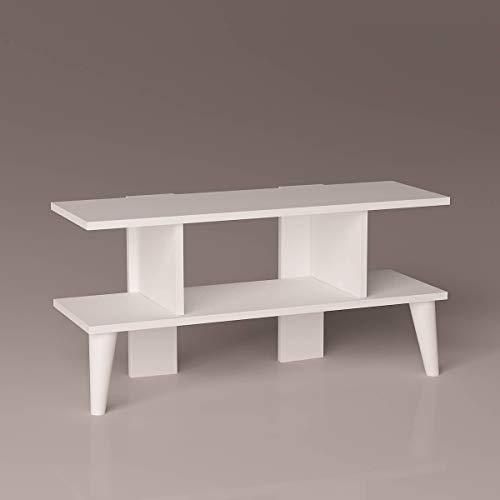 P&W Mueble moderno de madera para TV con estantes de almacenamiento para un montón de espacio de almacenamiento (blanco)