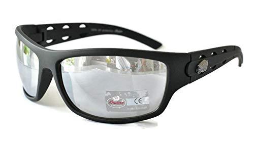 Indian Sunglasses Gafas de conducción de motocicleta para hombres mujeres UV400 protección Wraparound plata espejo resistente a los impactos lente plástico
