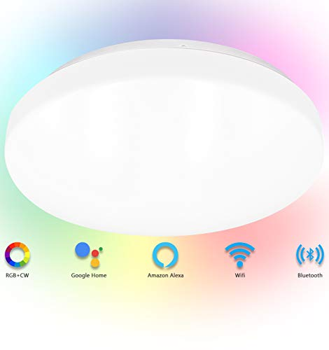 SYLSTAR Smart LED Ceiling Light 20W 1500lm, RGB+CW color Ambiance, APP or Voice control, compatible with Alexa and Google Home, No Hub Required (2.4Gz WIFI + Bluetooth)