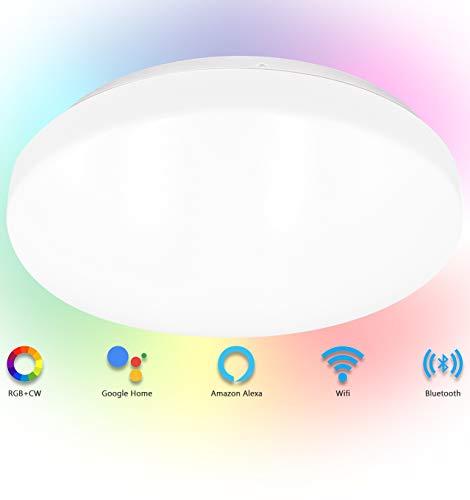 Alexa Smart LED Deckenlampe, 20W 1500lm WiFi + Bluetooth LED Deckenleuchte Dimmbar, RGB+CW (2700-6500K) Farbechsel Lampe Steuerbar via App, Kompatibel mit Alexa Google Home, kein Hub Erforderlich