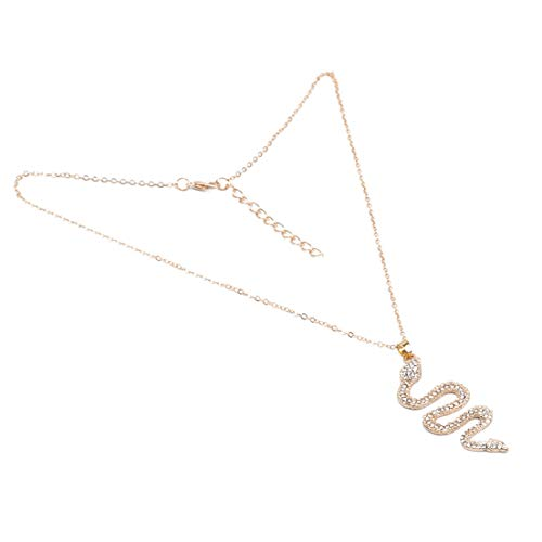EMFGJ Snake Pendant Necklace Cubic Zircon Claivicle Chain Fancy Dress Party Animal Jewellery For Women Girls,Gold