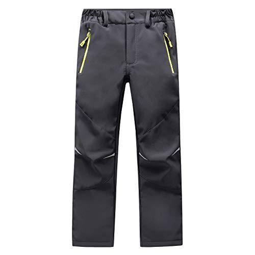 LANBAOSI Kids Boys Girls Waterproof Outdoor Hiking Pants Warm Fleece Lined Gray 10