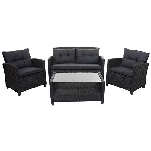 Mendler XXL Poly-Rattan Garnitur HWC-F10, Balkon-/Garten-/Lounge-Set Sitzgruppe, Sofa Sessel anthrazit mit Kissen Spun Poly