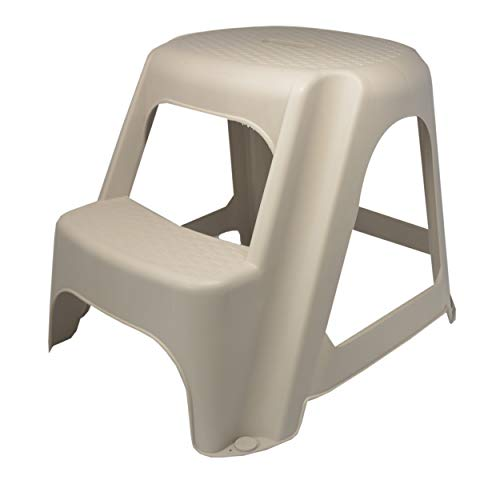 Hogar y Mas Taburete 2 escalones, Escalera de Plástico Resiste. Taburetes Cocina Baratos 50x45x40 cm - Blanco