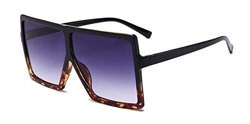 Jbwlkj Übergroße Schattierungen Frauen Sonnenbrille Schwarz Mode Quadrat Brille Big Frame Sonnenbrille Vintage Retro Brille Unisex-C2_Black_Leoaprd_Gra