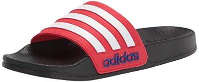 adidas Adilette Shower Slide Sandal, Black/White/Vivid Red, 5 US Unisex Big Kid