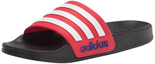 adidas Unisex-Child Adilette Shower Slide Sandal, Core Black/White/Vivid Red, 2