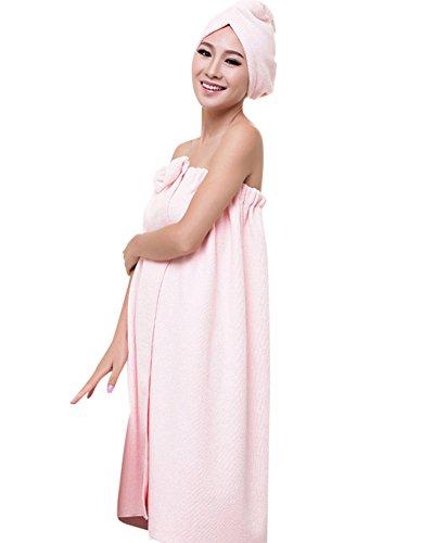 ZiXing Ducha de microfibra cabello seco toalla de baño de rápida Cap Natación Pareo Chal albornoz ajustable Spa Cover Up rosa OneSize