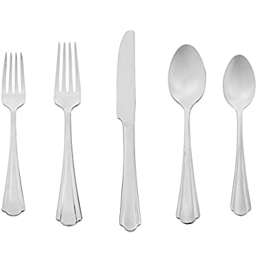 AmazonBasics 20-Piece Stainless Steel Flatware Set with Scalloped Edge, Service for 4