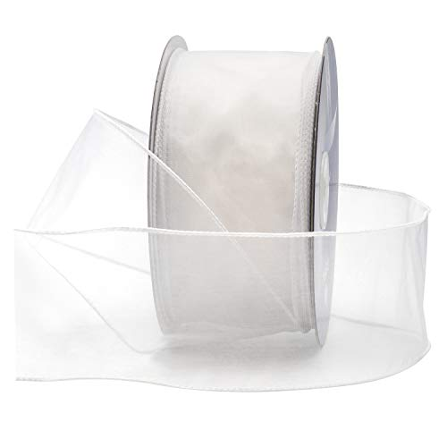 White Organza Wired Sheer Ribbon 2.75' (#40) For Floral & Craft Decoration, 50 Yard Roll (150 FT Spool) Bulk By Royal Imports
