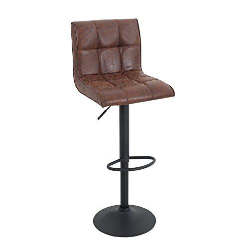 Invicta Interior Höhenverstellbarer Barhocker Modena Vintage braun Barstuhl mit schwarzem Metall Gestell Hausbar Hocker Stuhl Tresenstuhl höhenverstellbar Küchenstuhl