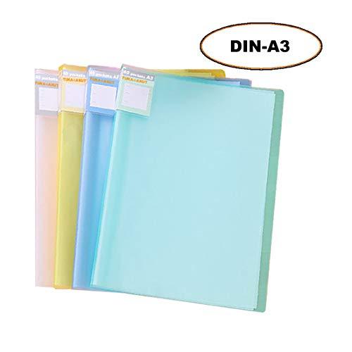 TUKA-i-AKUT [4x] Sichtbuch PP A3 insgesamt 160 Klarsichthüllen für 320 Blatt (je Buch 40 Klarsichthüllen), Transparente Hülle, Solid Präsentationsordner aus PP, 4er Set in 4 Farben, TKD8033-4x