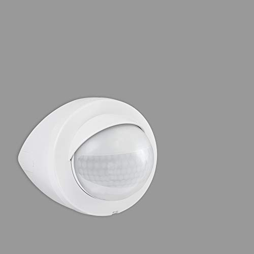 Telefunken - Bewegungsmelder, Bewegungssensor 200°, Reichweite max. 12m, inkl. Zeiteinstellung, inkl. Dauerlicht, max. 1.000 Watt, IP44, Weiß, 120x95mm (LxD)