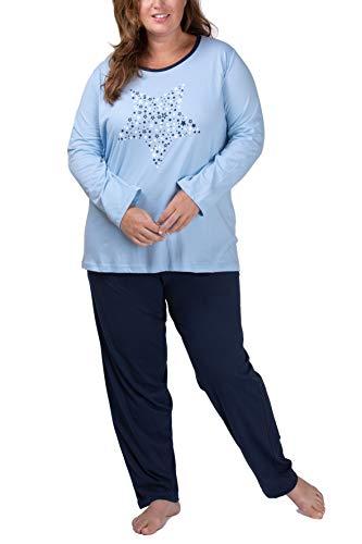 Moonline Plus - Pijama de Mujer en Tallas Grandes (XL-4XL) con Estampado 'Dreams Come True', Color:Azul Claro, Größe Textil:56/58