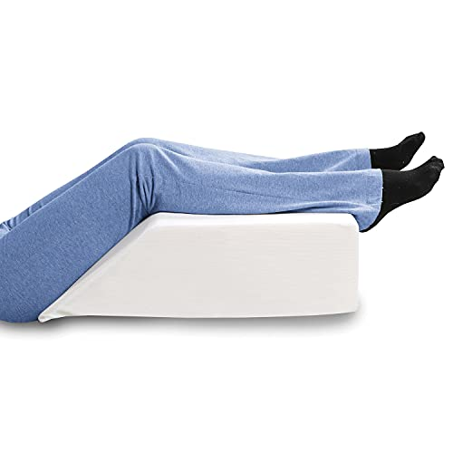 """SUPPORT PLUS Elevated Leg Wedge Support Pillow -Relieves Back/Sciatica Pain, Surgical or Injury Recovery, Improves Circulation, Helps Reduce Leg/Ankle Swelling -Premium Memory Foam 17"""" Wide"""