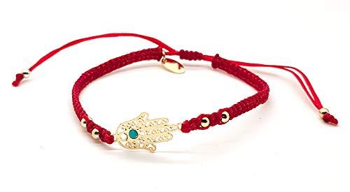 BARBARI Jewelry Gold Plated 18K Hamsa Bracelet | Handmade Gift for Her + FREE Organza Bag! Bat Mitzvah Jewish Israeli Gift- High Quality Kabbalah Fatima Hand pendant Lucky Red String Bangle