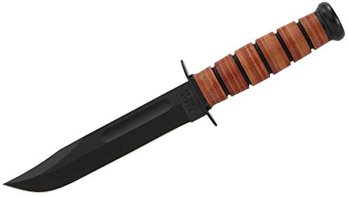 Ka-Bar 1220 US Army Straight Edge Fighting/Utility Knife with Leather Sheath , Beige, 7' Blade